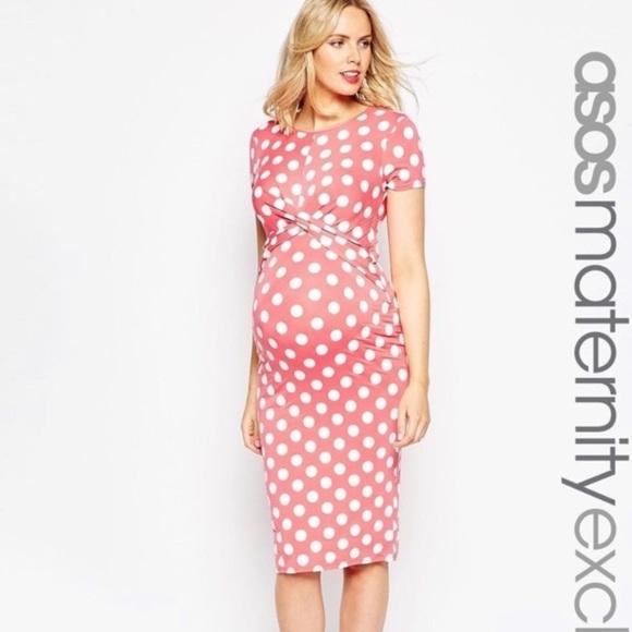 79f28b2fdcf0 ASOS Maternity Dresses & Skirts - ASOS Maternity Pink Polka Dot Bodycon  Dress
